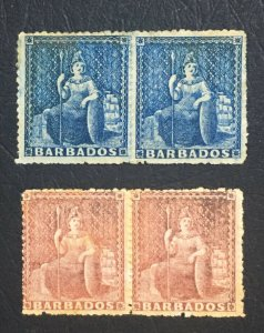 MOMEN: BARBADOS SG # 1d,4d 1861-70 PAIRS NO WMK MINT OG 3H/1NH(4d) LOT #60663