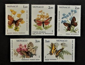 Monaco 1426-30. 1984 Butterflies and Rare Flowers, NH