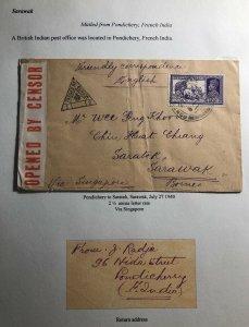 1940 Pondichery India Censored Cover To Saratok Sarawak Via Singapore
