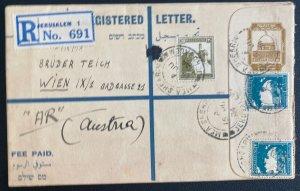 1934 Jerusalem Palestine Postal Stationery Registered Cover To Vienna Austria