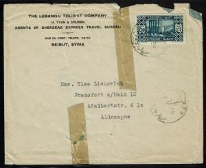 Lebanon 1936 Cover to Germany - Lot 091317