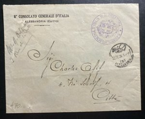 1936 Italian Consulate In Alexandria Egypt Diplomatic Cover Locally Used
