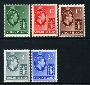 Virgin Islands 1938 KGVI chalk paper p/set (5v.) mint CV £31