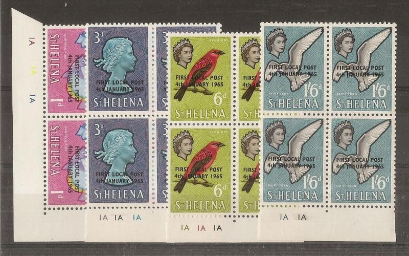 St Helena 1965 Local Post Opt's SG193-196 Cyl Blocks MNH