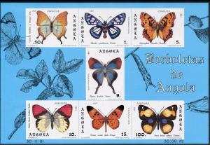 [65639] Angola 1982 Butterflies Souvenir Sheet MLH