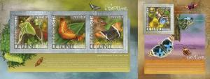 Guinea 2014 insects butterflies klb+s/s MNH