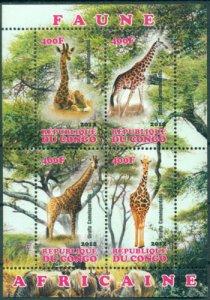 Congo 2012 Giraffes Africa Wild Animals Mammals Fauna Nature M/S Stamps MNH