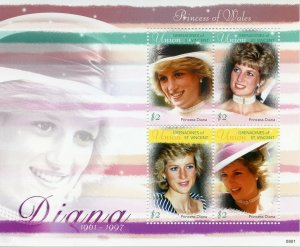 Union Island Grenadines St Vincent Royalty Stamps 2010 MNH Princess Diana 4v M/S
