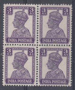 India Scott 174 Mint NH block (Catalog Value $40.00)
