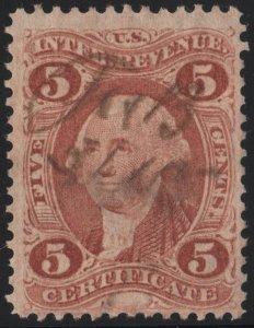 R24c 5¢ Revenue: Certificate (1862) Used