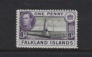 FALKLAND IS. SCOTT #85B 1936-46 GEORGE VI 1P (VIOLET/BLACK) - MINT LIGHT  HINGED
