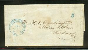 UNITED STATES 1845 PETERSBURG VA BLUE 5  STAMPLESS  COVER ATTORNEY'S NOTICE