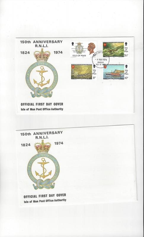 Isle of Man FDC 36-39 150th Anniversary R.N.L.I.  Official Cover