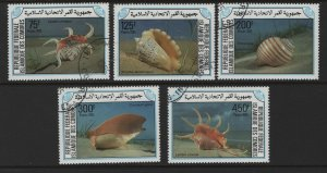 COMORO ISLANDS 609-613 USED SEA SHELLS SET 1985