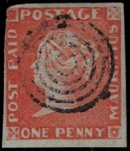 Mauritus 1848 SC 5 Certificate Used SCV $7250.00