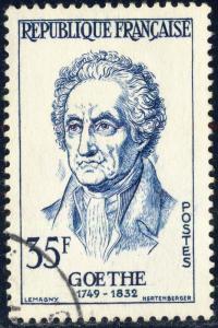 FRANCE - 1957 - Yv.1138/Mi.1173 35fr bleu J.W. von Goethe - Oblitéré TB