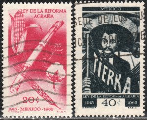 MEXICO 968-969 50th Ann of the Agrarian Reform Law Used. VF. (165)