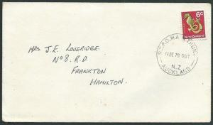 NEW ZEALAND 1970 6c Seahorse on cover RTPO MAIN TRUNK / AUCKLAND cds.......42937