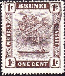 BRUNEI 1947 1c Chocolate SG79 FU