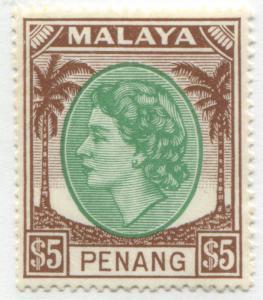 Malaya Penang QEII $5 emerald & brown mint o.g.