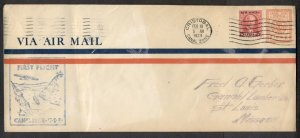 CANAL ZONE 2¢ envelope + 25¢ air FIRST FLIGHT cover, VF