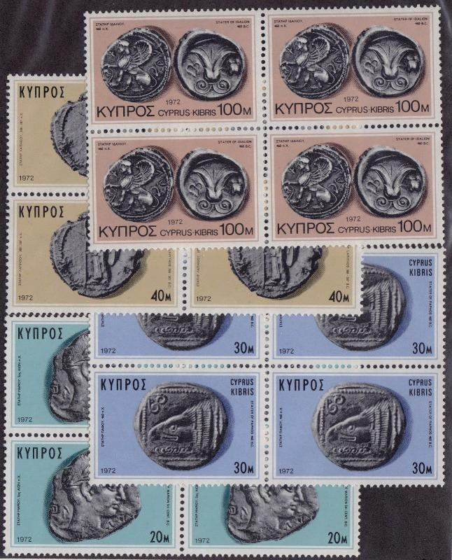 CYPRUS MNH Scott # 386-389 Ancient Coins Blocks (16 Stamps) -3