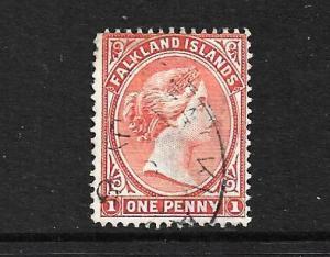 FALKLAND IS 1891 -02  1d   ORANGE QV  FU  SG 18