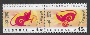Christmas Island 377a  1996  pair  VF NH