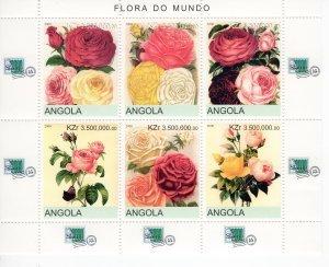 Angola 2000 ROSES London Philatelic Exhibition Sheet (6) Perforated Mint (NH)
