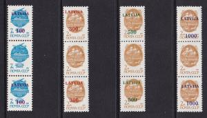 Latvia   #308a-311a    MNH  1991  Russia vertical strips with / without Ovptd.