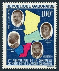 Gabon C20,MNH.Michel 198. Map and Presidents,1964.CAR,Chad,Congo.