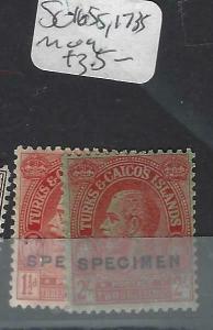 TURKS AND CAICOS   (P3103B)  KGV  1 1/2D, 2/-  SG 1665S , 173S SPECIMEN   MOG