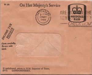 Londonderry UK Income Tax office window envelope official paid 1966 cover