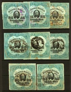 #REA39 1878 25c Assorted Quarter Barrel Beer Tax Stamps Series of 1878 Used