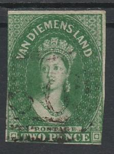 TASMANIA 1855 QV CHALON 2D IMPERF WMK STAR USED