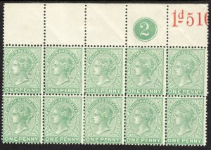 1895 - 1897 South Australia QV 1 penny perf 13 Wmk 73 MNH Sc# 105 BLK 10