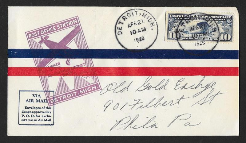 UNITED STATES Event Cover American Aircraft Show 1928 Detroit to Philadelphia