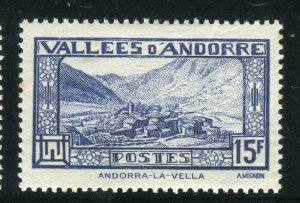 FRENCH ANDORRA; 1932 early Pictorial issue fine Mint hinged 15Fr. value
