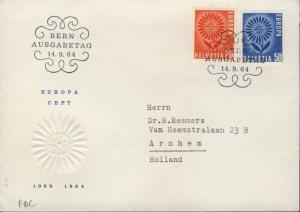 SUISSE / SWITZERLAND / SCHWEIZ 1964 EUROPA set Mi.800/1 on FDC