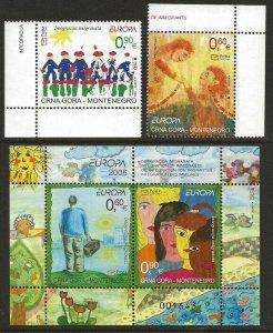 Montenegro 2006 Europa Set and Sheet #146-47, 148 VF-NH CV $10.50