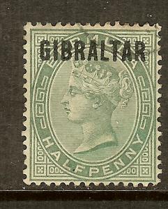 Gibraltar, Scott #1, Overprinted 1/2p Queen Victoria, Used
