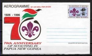 Papua New Guinea, 1996 issue. Scouting Anniversary Aerogramme. ^