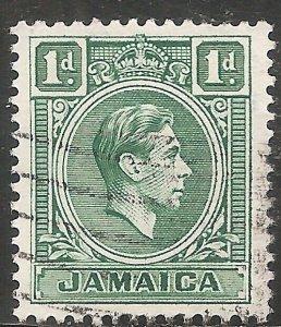 Jamaica Stamp - Scott #149/A36 1p Blue Green Canc/LH 1951
