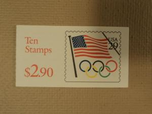 USPS Scott 2528a 29c Book Of 10 Flag Olympic Rings 1991 S...