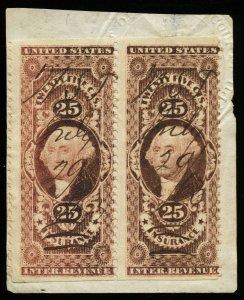 B571 U.S. Revenue Scott R46b 25c Insurance part perf 2 attached singles on piece