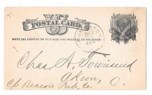 Sc UX5 1881 Youngstown Ohio Fancy Cork Cancel Wedges Postal Stationery Card