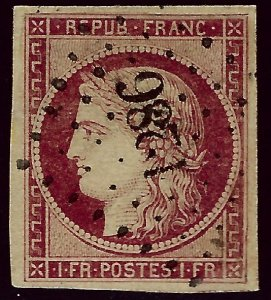 France Sc #9 Used VF SCV$650...French Stamps are Iconic!