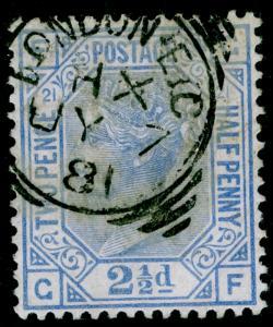 SG157, 2½d blue PLATE 21, FINE USED, CDS. Cat £40. GF