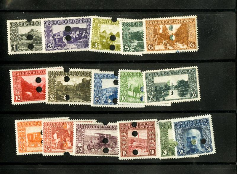 Bosnia Specimen Stamps Early Set of 16 Scarce