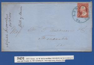 *US 19th Century Cover Scott #10 Tied By Blue CDS, 1851 Issue, Minor Edge Toinng